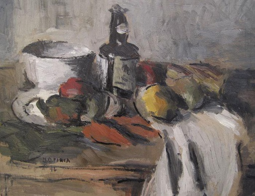 [9723] Still life with bottle and white vessel