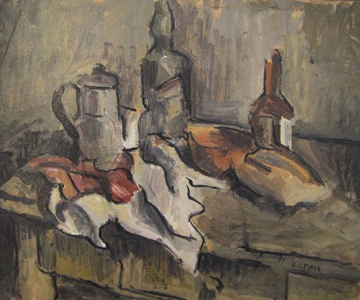 [9732] Still life with coffeepot, bottles and bread