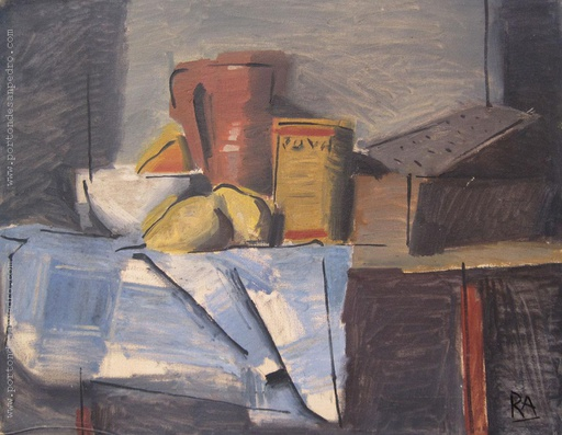 [12049] Still life with blue tablecloth