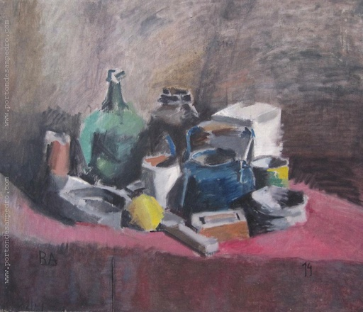[12093] Still life with blue kettle