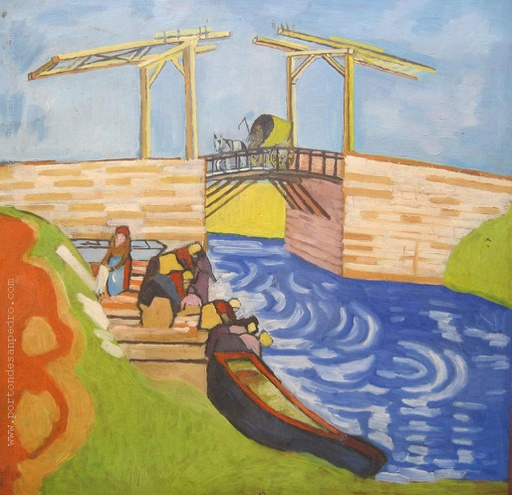 [13288] The Langlois Bridge at Arles with Women Washing